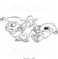 vector of a mad cartoon boy and fighting over a teddy bear