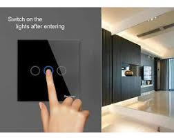 touch screen wall light switch 1 way 1 2 3 gang led crystal glass panel wall light eu smart touch