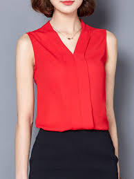 sleeveless blouses summer spandex v neck plain sleeveless blouses