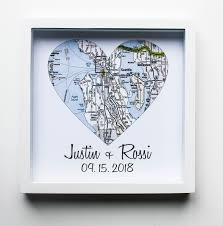 unique wedding present ideas map heart wedding gifts for couples framed unique wedding gift any