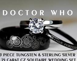 doctor who engagement ring doctor who his 8mm tungsten and hers 4mm 925 sterling silver 1 25