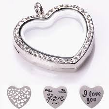 locket plates 22mm heart stainless steel floating locket plates sted