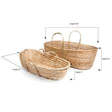 palm leaf woven moses basket with laundry liner