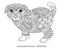 line art design cute pug dog stock vector 695822383 shutterstock