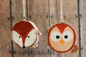 rustic painted woodland creature ornaments