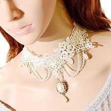 white lace choker necklace images Vintage white lace choker necklace collar necklace jpg