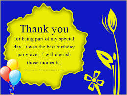 birthday wishes thanks message in