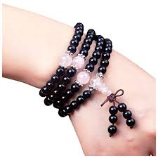 rose quartz beads bracelet images Mala beads beaded bracelet of black obsidian and rose quartz jpg