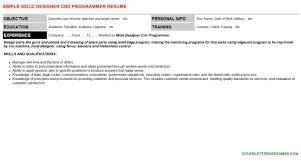 Cnc Programmer Resume Sample by Mold Designer Cnc Programmer Cover Letter U0026 Resume