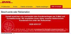 Dhl Email Kontakt Beschwerde by Dhl