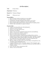 cover letter resume for a warehouse job resume templates for a