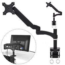 single arm tv lcd monitor desk mount stand bracket swivel gas