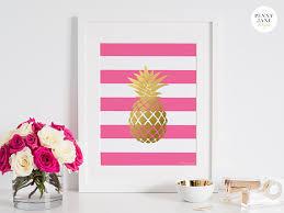 pineapple print gold pink pineapple art digital printable art