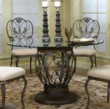 dining room pedestal dining table with small round glass tabletop