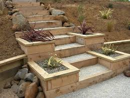 Backyard Steps Ideas Macrocarpa Steps And Planter Boxes Landscape Construction