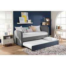 amazon com dhp jesse twin kids bed with trundle in gray linen