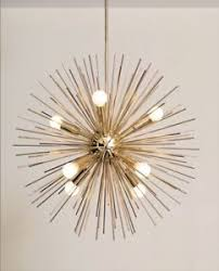Sputnik Ceiling Light Mid Century Inspired Handmade Brass Starburst Chandelier Sputnik