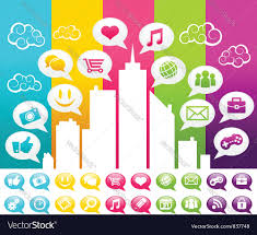 Colorful City Colorful City With Social Media Icons Royalty Free Vector