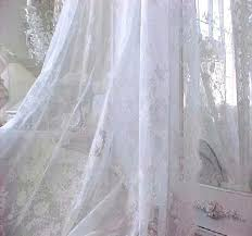 shabby french white vintage roses lace netting chic curtain drape