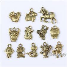 vintage charm bracelet necklace images 72 pcs vintage charms chinese zodiac pendant antique bronze fit jpg