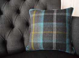 Tartan Chesterfield Sofa Plain Wool Scatter Cushions Abode Sofas