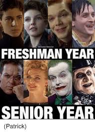 Senior Year Meme - freshman year senior year patrick meme on me me