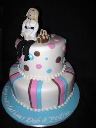 pink blue u0026 brown baby shower cakecentral com