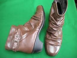 s heel boots size 11 portland brown leather ankle zip mid heel boots size 11 ebay