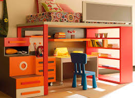 wonderful yellow orange blue wood modern design wall cabinet bed