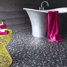 black white checkered linoleum flooring with bathroom area and