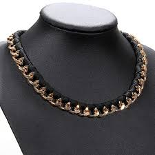 black chain link necklace images Retro black leather gold alloy chain link choker necklace jpg