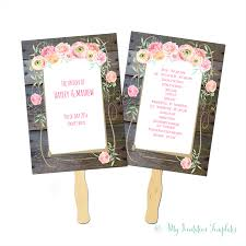 Diy Wedding Fans Templates Country Flower Wedding Program Fan Template With A Rustic Wood
