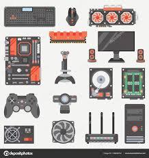 papier peint bureau ordinateur jeu d icônes de couleur plat vecteur ordinateur partie style