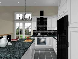 Black And White Kitchen Tiles Elegant White Kitchen Ideas With Cupboards And Two Black Chairs