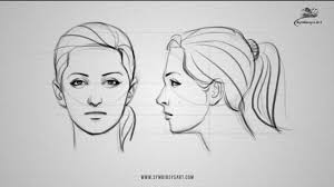 how to draw a female face front and side view youtube