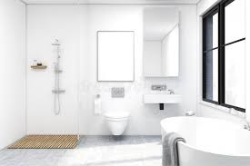 how to clean mirrors in bathroom front view of bathroom with a shower stock illustration