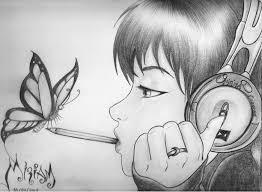 imagenes de dibujos de chicas hechos a lapiz