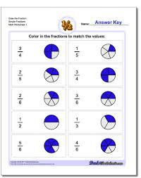 Worksheets For Math Graphic Fractions