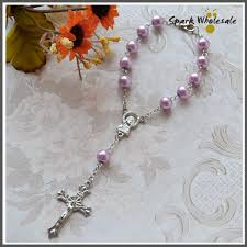 baby rosary 50pcs lot religious bracelet purple glass pearl imitation rosary