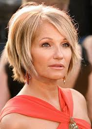 party hair style for aged women ellen barkin blonde wedge hairstyle casual party evening