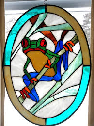 octagon stained glass window stained glass frog themed window panel 19