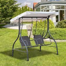 outdoor 2 person porch swing patio garden wicker double seat chair