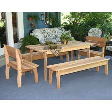Outdoor Dining Bench Creekvine Designs Cedar Four Square Picnic Table And Bench Set