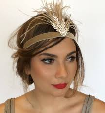 gatsby headband gatsby 1920s headpiece gold fascinator gold flapper headband