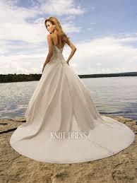 ivory satin strapless applique upper chapel train beach wedding
