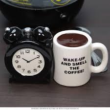 alarm clock coffee mug salt and pepper shakers s u0026 p set