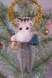 vintage style kitten chenille feather tree ornament site has