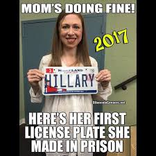 is proud of hillary s new prison job license plates