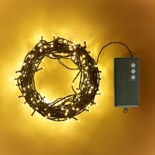200 warm white led outdoor battery lights on green cable