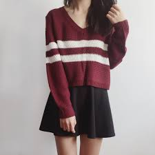boxy striped cropped sweater maroon megoosta fashion free